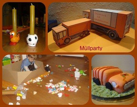 Müllparty Kindergeburtstag Torte Müllauto Müllwagen Zweiter Geburtstag
