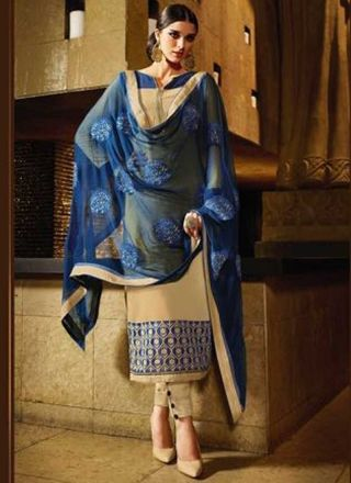 Cream Blue Embroidery Work Georgette Chiffon Pakistani Suit http://www.angelnx.com/Salwar-Kameez/Pakistani-Suits
