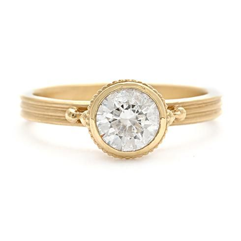Megan Thorne Bezel-Set Engagement Ring with Milgrain Details