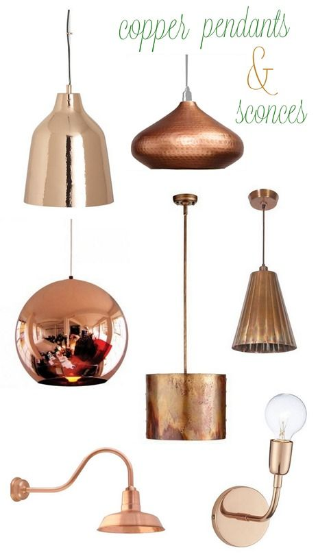 Copper accents are easy with new light fixtures.
