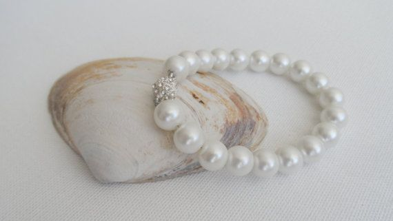 White Pearl Bracelet Wedding by AccessoriesInLove on Etsy
