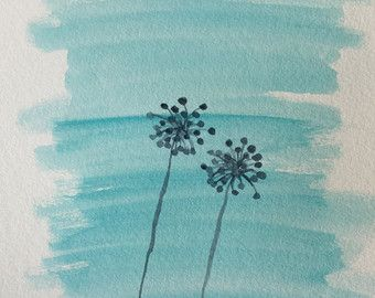 Items similar to Dancing Blue Dandelions ( original watercolor painting, 4in.x6in. ) on Etsy