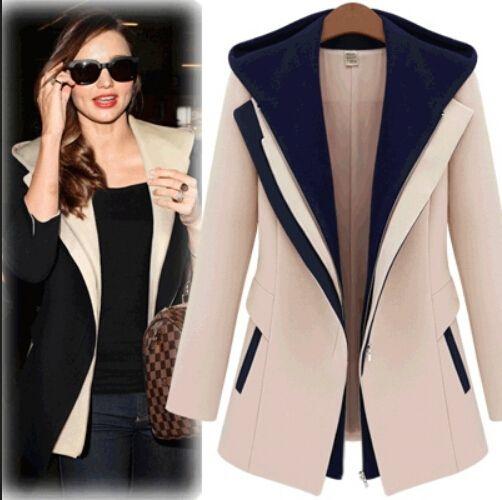 2016 mujeres abrigo de invierno y chaquetas de invierno invierno delgado de dos piezas con capucha Casaco Patchwork Blazer Casual mujer
