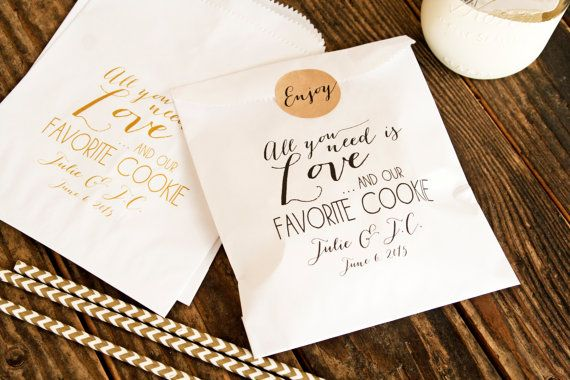 Cookie Favor Bags  Wedding Favor   Love and our Favorite by mavora