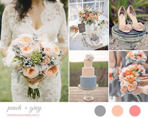 peach and grey wedding inspiration http://weddingwonderland.it/2015/04/matrimonio-grigio-pesca.html