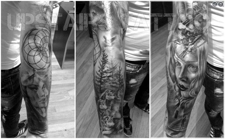 #tattoo #sleeve #black&gray #men's #dreamcatcher #portrait #face #girl #clock #eye by Mihai Bizduianu