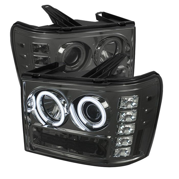 ( Spyder ) GMC Sierra 1500/2500/3500 07-13 / GMC Sierra Denali 08-13 / GMC Sierra 2500HD/3500HD 07-13 Projector Headlights - CCFL Halo- LED ( Replaceable LEDs ) - Smoke - High H1 (Included) - Low H1 (Included)