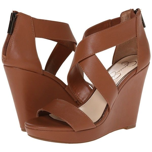 Jessica Simpson Jinxxi Women's Wedge Shoes, Brown ($31) ❤ liked on Polyvore featuring shoes, sandals, heels, brown, platform sandals, wedges shoes, brown shoes, wedge heel sandals and back zip sandals