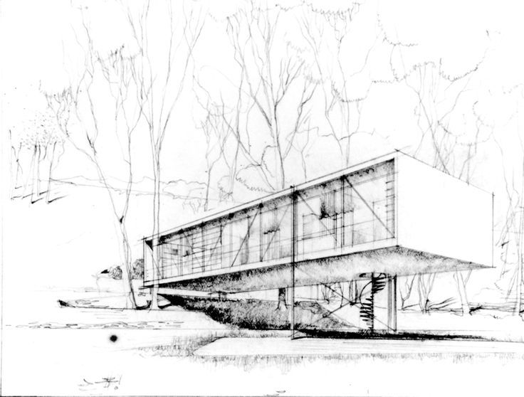 Wonderful Case Study House By Charles Eames And Eero Saarinen, Preliminary Sketch,  1945