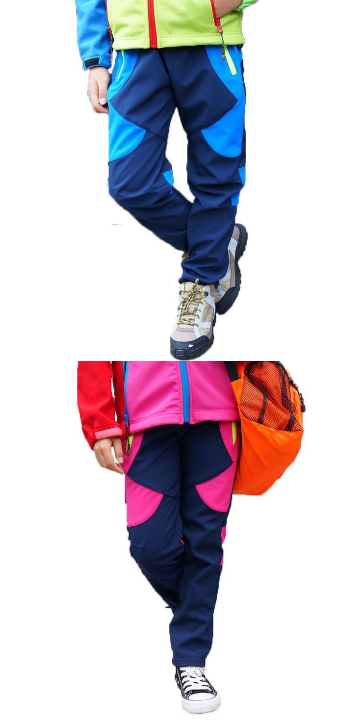 Brand Climbing Trousers Children Outerwear Warm Trousers Sporty Ski Suit Waterproof Windproof Boys Girls Pants For 3-12T