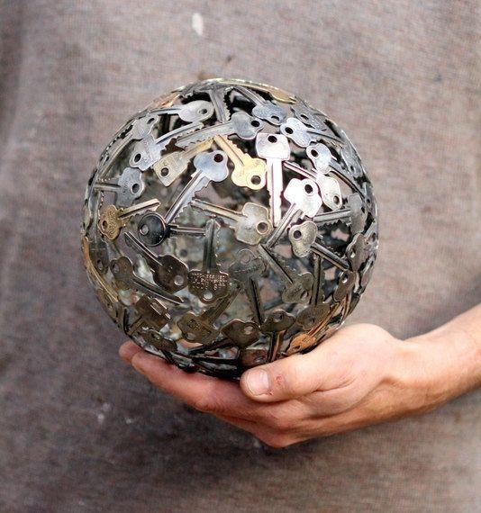 Medium key ball, Key sphere, Metal sculpture ornament. $215.00, via Etsy.