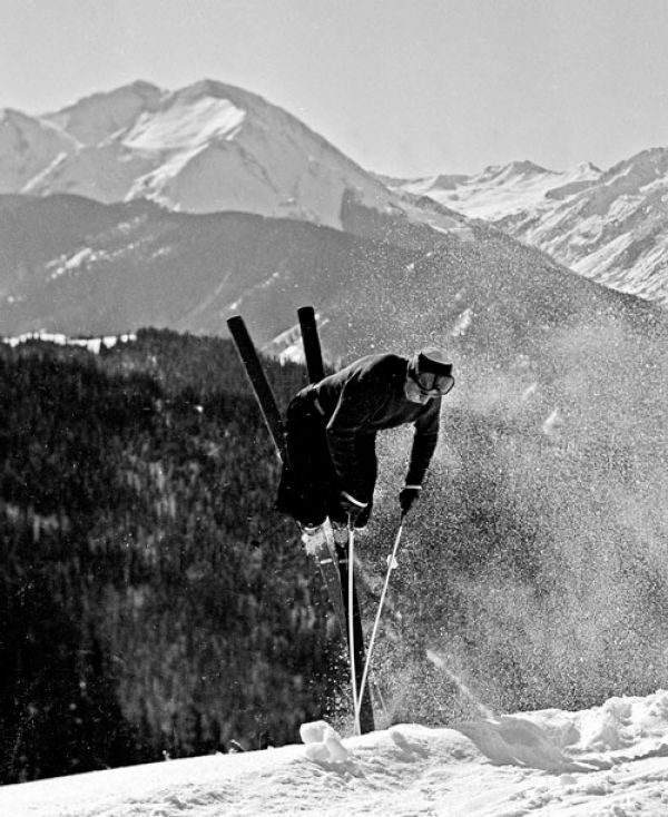 """Before the term """"freestyle"""" had even been coined, Klaus Obermeyer was throwing tip rolls on 200-cm length skis in the 1940s. Today, Obermeyer, who turns 93 on Dec. 2, leaves such gymnastic moves to the next generation. But you can still catch a glimpse of the silver fox most days on the slopes of Aspen/Snowmass. Courtesy photo."""
