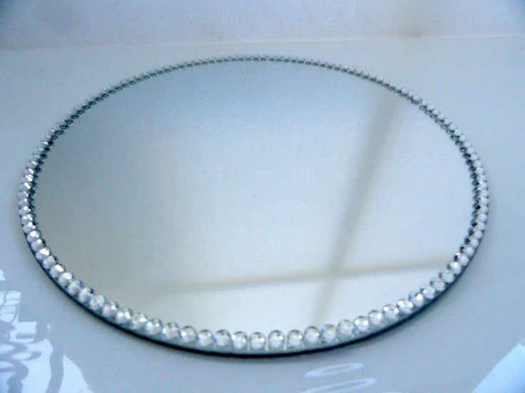 Large Silver Diamante Mirror Mirrored Candle Plate Size