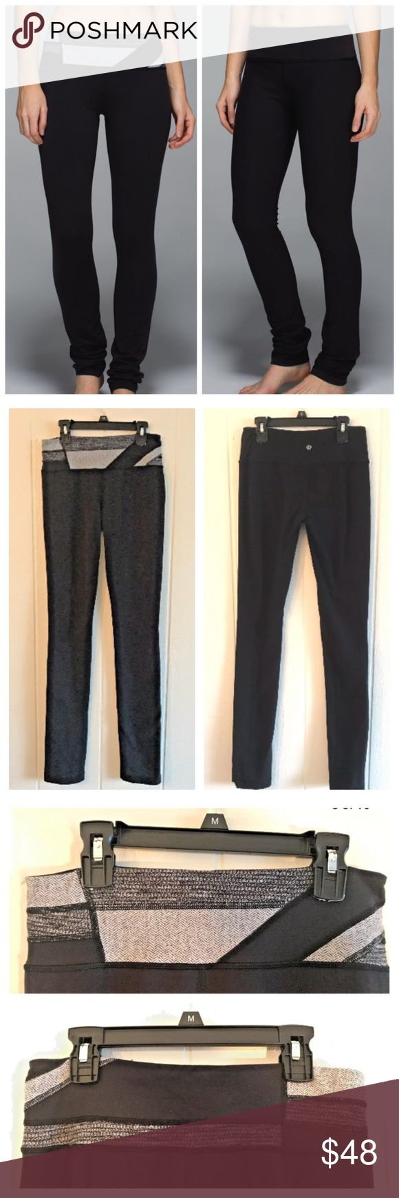 Lululemon Skinny Groove Pant Wi14 Q9 REVERSIBLE Lululemon Skinny Groove Pant Wi14 Quilt9 REVERSIBLE Coco Pique Herringbone Blk 4.                                            Good preowned condition, some pilling in expected locations, otherwise normal wear still in good condition and have lots of life left.                                                   Approximate measurements laying flat in inches: Waist= 14 Rise = 10 Inseam= 33…