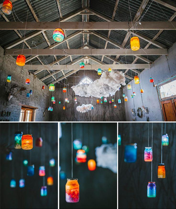 Consol jars became a sunset of lights...
