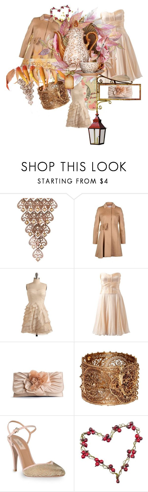 """Winter holidays party looks"" by flaviastylesource ❤ liked on Polyvore featuring LK Designs, RED Valentino, Forever New, Lulu Townsend, Valentino, valentino shoes, valentino camel coat, nude beige, powder pink and filigran bangle"