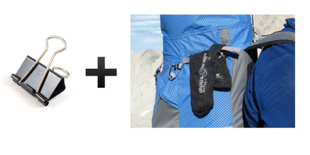 Bring binder clips when hiking so you can hang wet clothes off of your backpack.