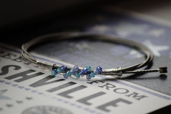 Guitar String Bracelet with Blue Mix Glass Beads #heartSTRINGSjewelry