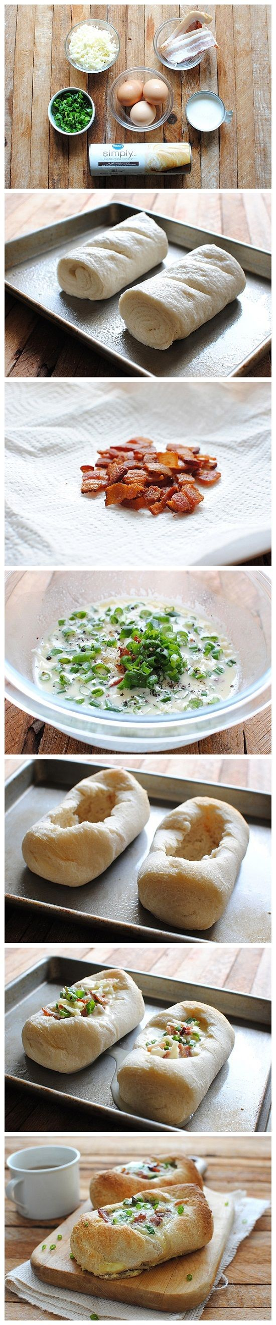 Baked Egg Boats - in the Dutch Oven or wrapped in foil on the grill.  Perfect camping food!