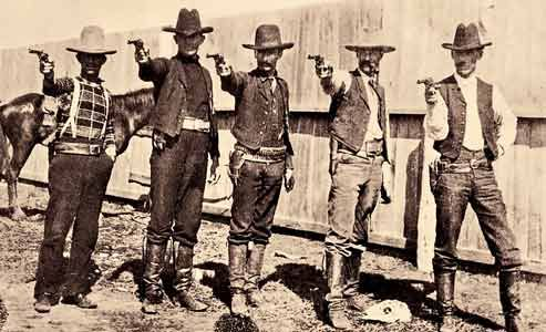 Here are five Texas Rangers at camp near Alice, Texas; they are most likely investigating reports of cattle rustling from head at the legendary King Ranch.