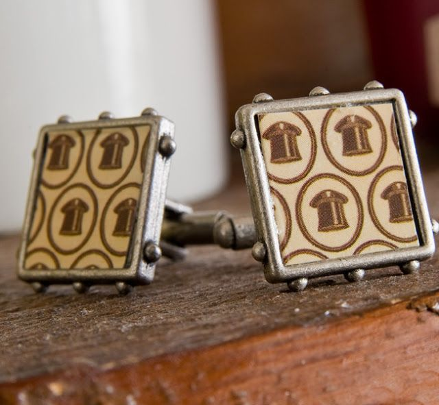 DIY Crafts for the guys, men and gents: Mod Podge + paper = cufflinks