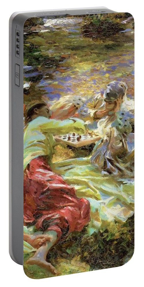 The Portable Battery Charger featuring the painting The Chess Game by Sargent John Singer