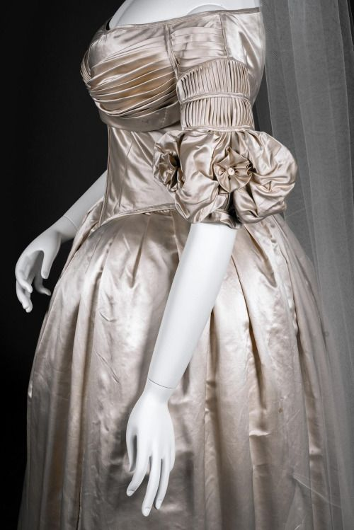 Wedding dress (detail) ca. 1838 From the Wadsworth Atheneum via the Hartford Courant