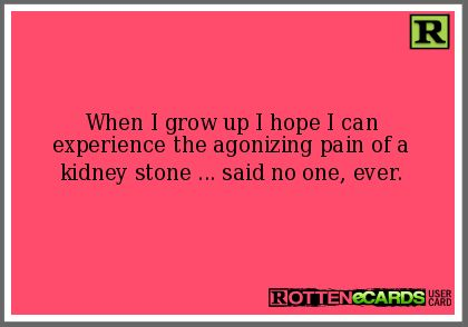 funny kidney stones pics | ... experience the agonizing pain of a kidney stone ... said no one, ever