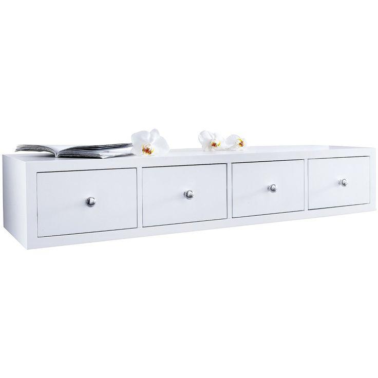 MiaVILLA White Floating Shelf With 4 Drawers: Amazon.co.uk