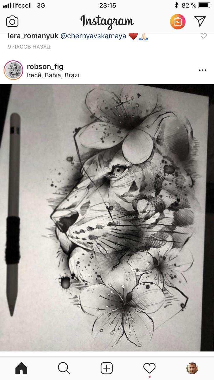 Tattoagem feminina tigre com flores #tattoagem #desenho #tinytattoos