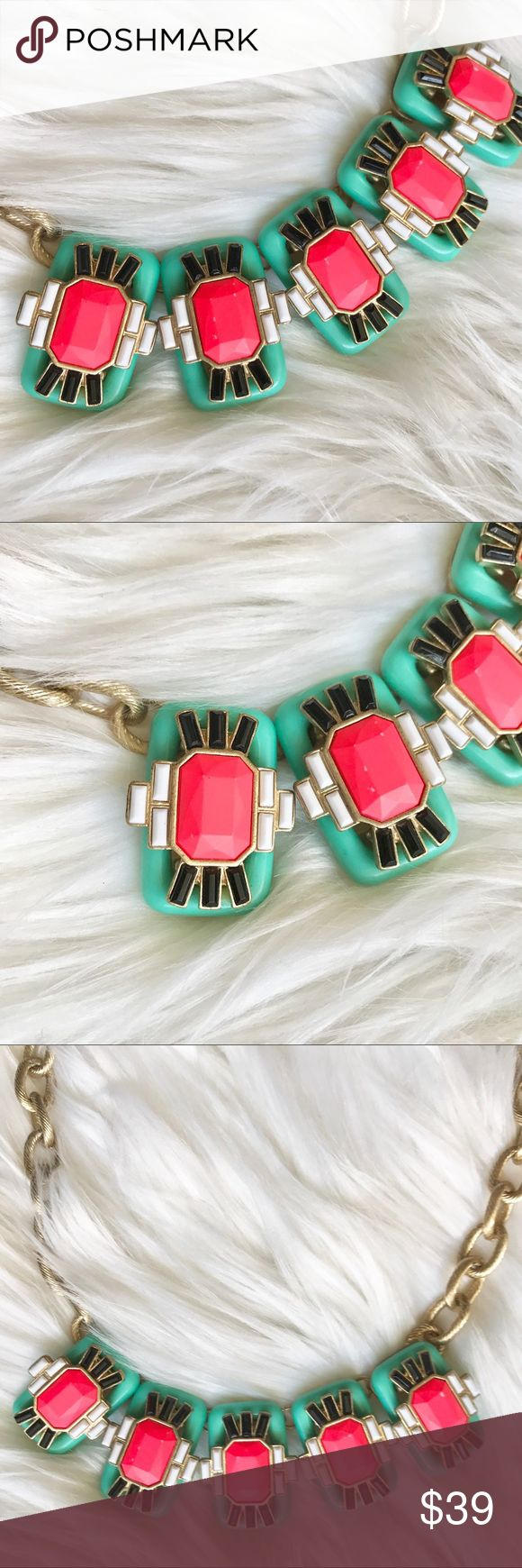 Awesome Embellished Neon Pink & Teal Necklace Eye catching embellished necklace is ready to be worn this Season!🌷☀️ Grab her while you can!!🙌🏼 Jewelry Necklaces