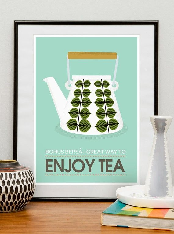 Art for Kitchen Art Tea art print kitchen poster mid century modern Stig Lindberg - Enjoy Tea retro poster A3