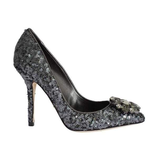 Dolce  U0026 Gabbana Gray Sequined Crystal Heels Pumps