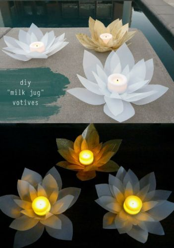 A great Lotus DIY with Candle Impressions flameless votives & a milk jug-lotus flower