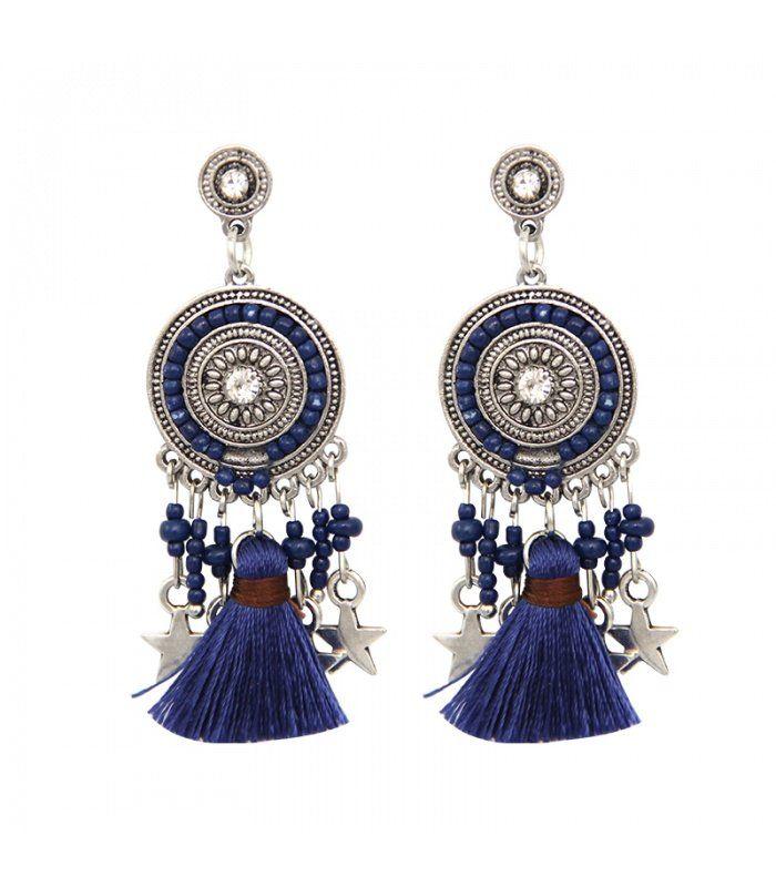Blauwe oorbellen met bedels en kwasten | Yehwang fashion en sieraden