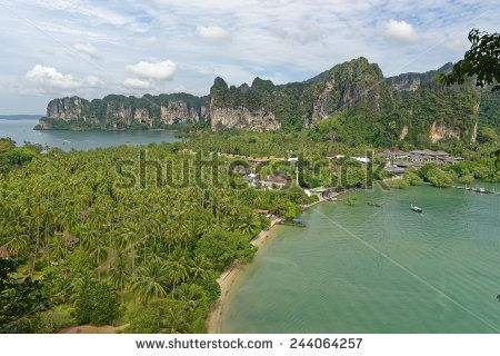 http://www.shutterstock.com/pic-244064257 Thailand, Railay Beach From One Of Two View Point Hike,S Through It Cliff Like Mountain Forests. Below You Can See Two Of Its Three Tropical Beach Bays And Palm Tree Forests In Between Stock Photo 244064257 : Shutterstock #thailand #stockphoto #thailandphoto #stockimage #thailandstock