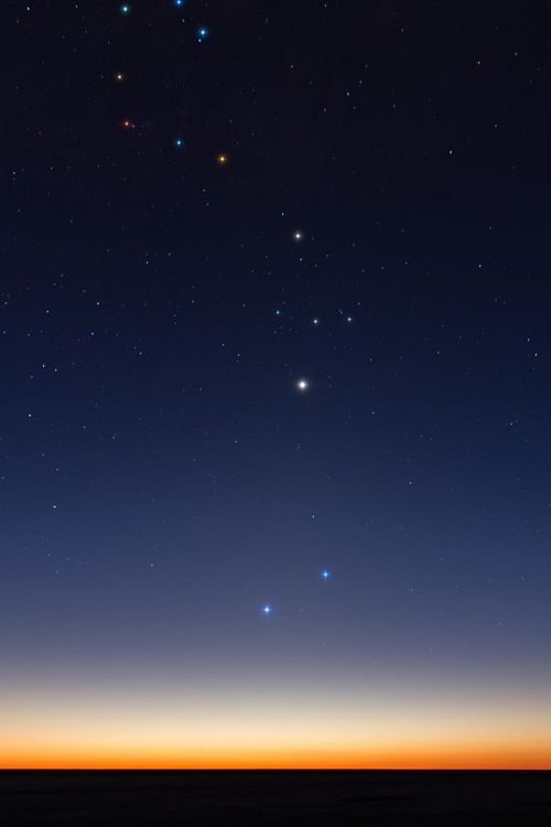 """Scorpio's Constellation \\ Fernando Oliva Below all, Mercury and Saturn up a little more. Higher up, in the center of the photo, Venus (huge). Top of Venus, all these stars, form the """"Constellation of Scorpio"""""""