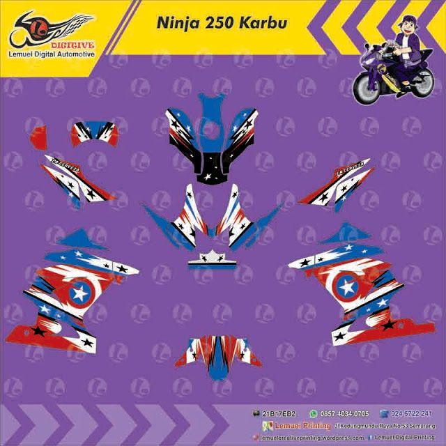 Custom Decal Vinyl Full Body Striping Motor Kawasaki Ninja 250 FI Thema Captain America Berkualitas by DIGITIVE