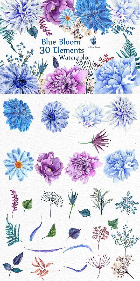 Watercolor Blue Flowers Clipart. Watercolor Flowers. $12.00