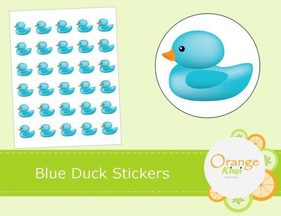 Blue Ducky Stickers  Baby Shower Stickers  by OrangeKiwiDesign