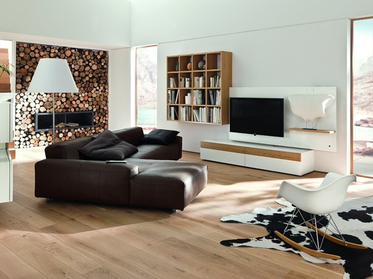 Sectional TV wall system NEO by Hülsta-Werke Hüls #interiors #wood #fireplace