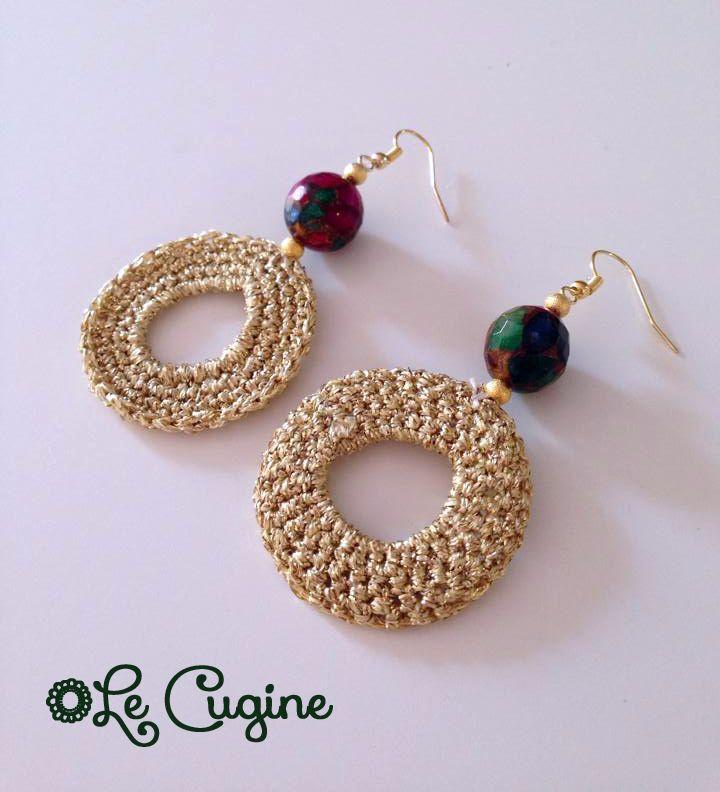 Lecuginecreazioni#handmade #orecchini #uncinetto #pietre #crochet