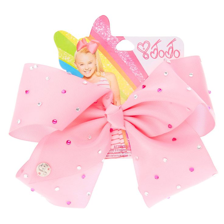 <P>Get the ultimate JoJo Siwa hair accessory with this super fun large pink signature hair bow from the JoJo Siwa collection. The bow has been attached to a metal salon clip making it really easy to wear and has been covered in pretty silver and pink rhinestones so you will sparkle from head to toe.</P><UL><LI>JoJo Siwa collection</LI><LI>Large pink rhinestone bow</LI>&am...
