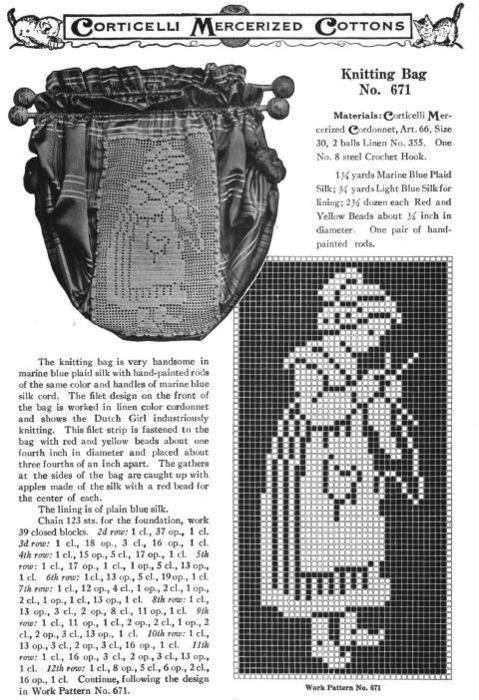 filet crochet knitting lady!  http://feitoamao.tumblr.com/post/4446794874/oh-the-irony-a-crochet-knitting-bag-d