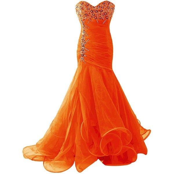 Dresstells Women's Gorgeous Long Meramid Bridesmaid Dress Homecoming... ($143) ❤ liked on Polyvore featuring dresses, long orange dress, bridesmaid dresses, long dresses, bridesmaid prom dresses and orange cocktail dress