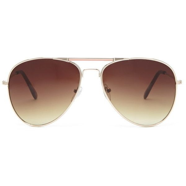 Forever 21 Forever 21 Enamel Bar Aviator Sunglasses (£3.88) ❤ liked on Polyvore featuring accessories, eyewear, sunglasses, aviator glasses, forever 21, lightweight sunglasses, aviator sunglasses and forever 21 glasses