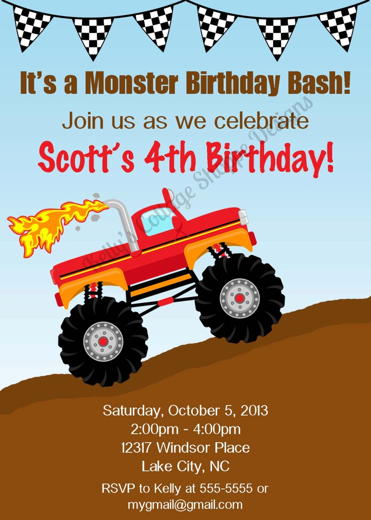 15 best monster truck party! images on pinterest | monster trucks, Party invitations