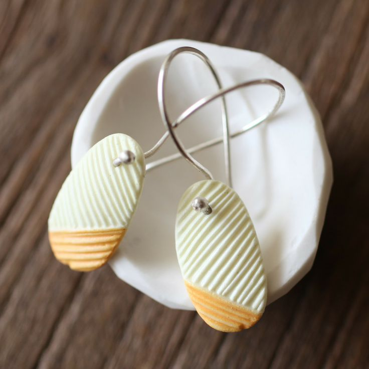 Melbourne jewellery designer Abby Seymour makes these amazing porcelain earrings.