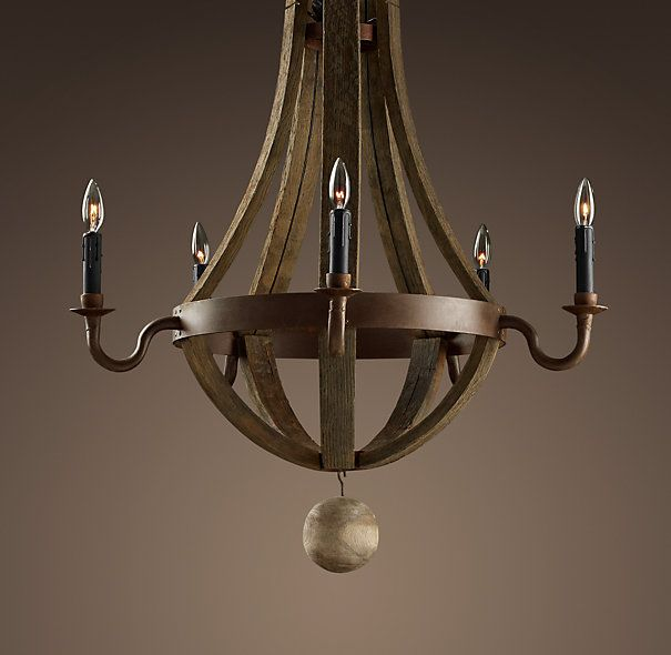 Wine Barrel 5-Arm Chandelier : this is the one Matt really likes from RH, but it's $2295!