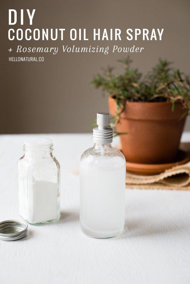 DIY Coconut Oil Hair Spray + Rosemary Volumizing Powder | HelloGlow.co